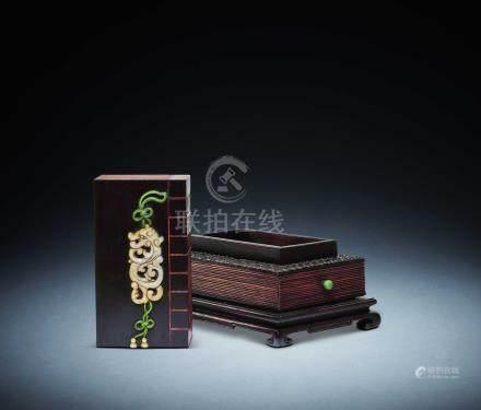 清  紫檀嵌貝母書形盒