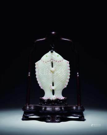 清中期  白玉嵌寶雙魚挂件