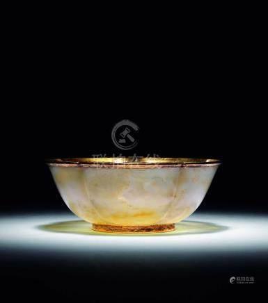 清  瑪瑙花口碗