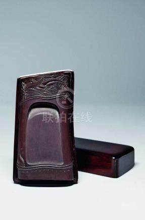 清  竹節硯