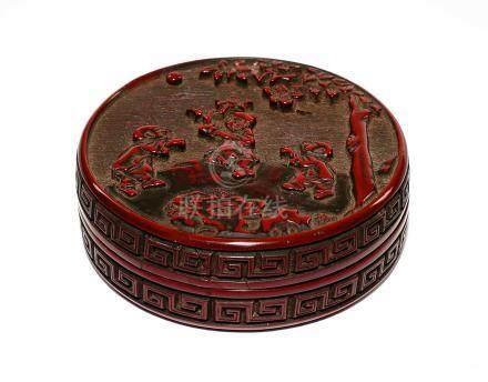 明  剔紅三子折桂圖香盒