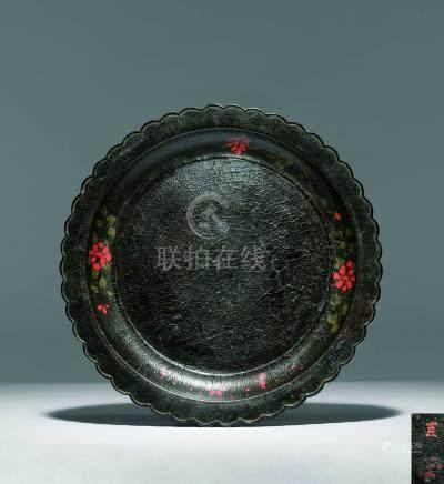 宋  素漆填彩輪花口盤