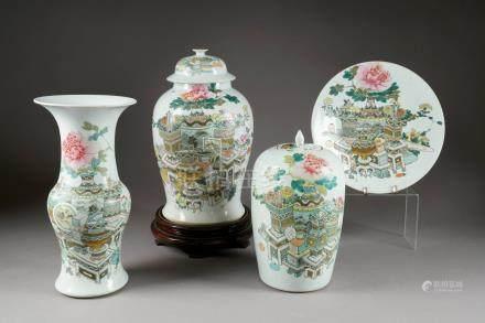 """Ensemble. Formé d'une potiche couverte (hauteur: 43 cm), d'un vase """"Yen-Yen""""(hauteur: 41 cm)"""