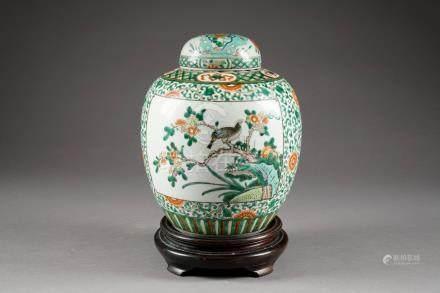 Pot à Thé. A décor, Famille Verte, de vignettes avec oiseaux branchés sur fond de rinceaux f