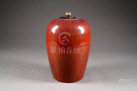 Potiche couverte. Porcelaine de Chine monochrome à glaçure sang de boeuf. Qing Dynasty. XIXe