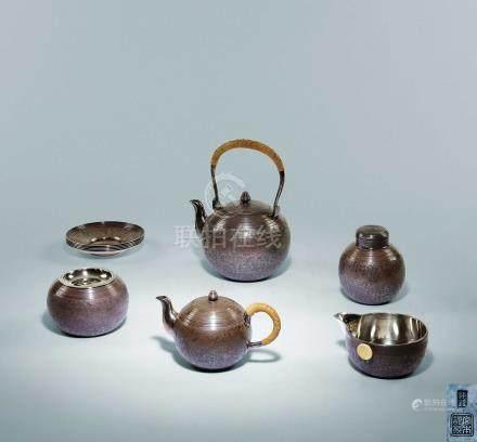 宮本製銀茶具一套