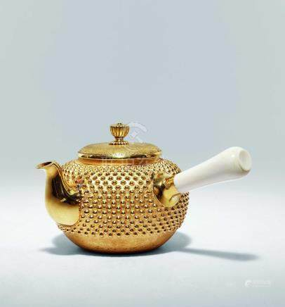 純金霧散牙柄茶壺
