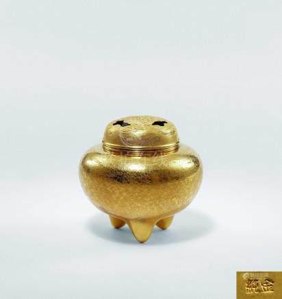 純金雲紋香爐