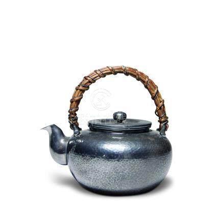 三越製 純銀竹編取手湯沸