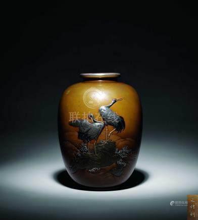 明治  元信作 銅錯金銀仙鶴圖瓶