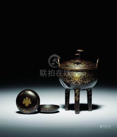江戶初期 鐵地錯金桐三葉雙鳳紋香爐香盒