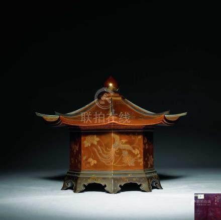 明治時期  蒔繪鳳凰紋御夢殿八角盒
