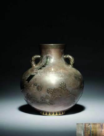 中川淨益 純銀月雪花花瓶