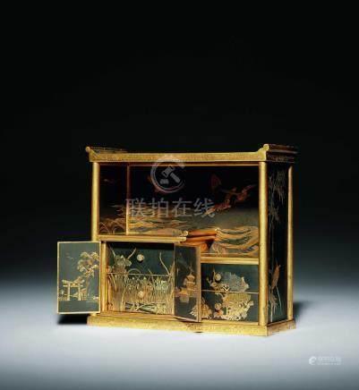 明治  駒井製 鐵錯金微型博古櫥