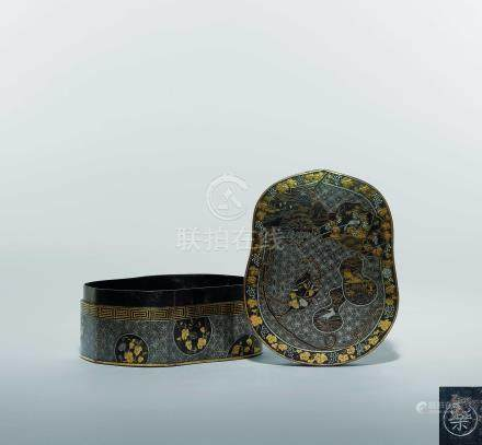 江戶  鐵錯金銀元寶形蓋盒