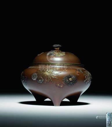 明治  井上製銅錯金銀菊花香爐