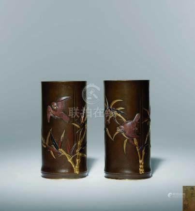 明治時期  西京井上製 銅金銀象嵌花鳥紋花入一對