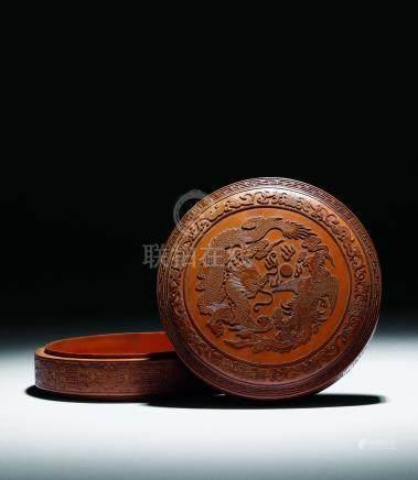 清  竹黃龍鳳紋蓋盒