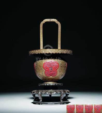 清乾隆  銅鎏金嵌雕漆長春萬歲提梁花籃