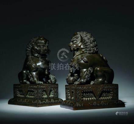 清中期  銅獅子一對
