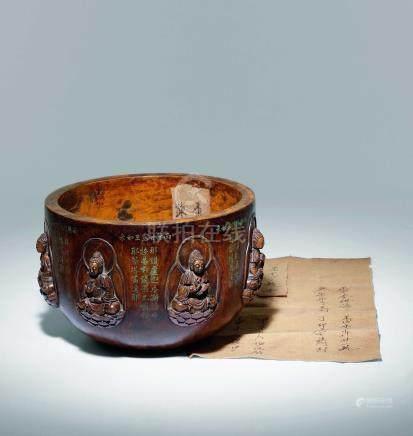 清乾隆  檀香製七佛圖鉢
