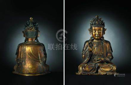 明  銅鎏金觀音坐像