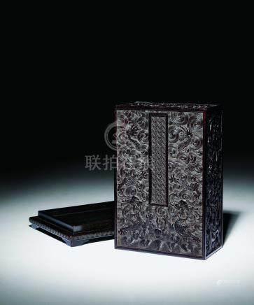 紫檀雕雲龍紋寶盒