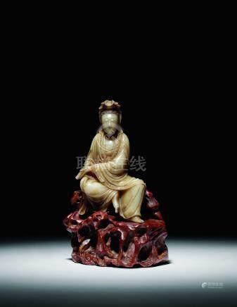 清  壽山石雕水月觀音