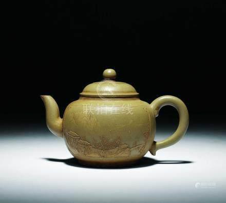 清乾隆  黃泥堆畫山水御製詩文茶壺