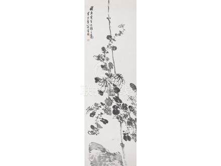 陳半丁  菊石圖
