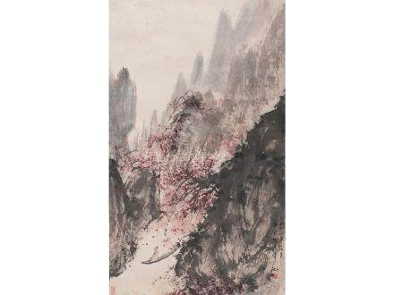 傅抱石  秋江泛舟圖