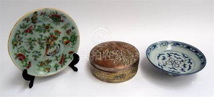 Three 19th century Chinese items: Tongzhi period blue & white bowl, a Fencai Dish, and a high relief