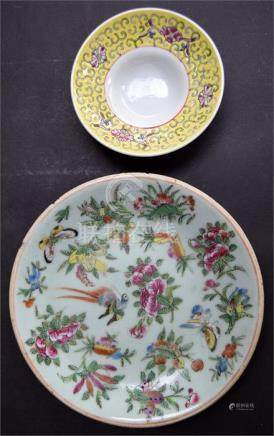 A 19th century Chinese celadon famille rose enamelled plate, hand decorated with butteryfly,