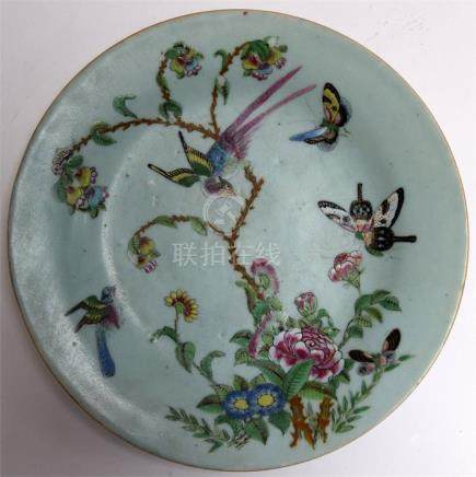 A 19th century Chinese Celadon glazed enamel painted butterfly plate
