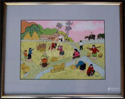 An oriental scene harvesting rice, pen and guache, signed lower right, 23x32cm