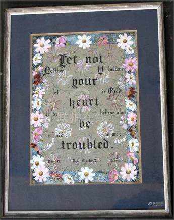 Two calligraphic works of Biblical quotes from Proverbs and the Gospel of John, together with an