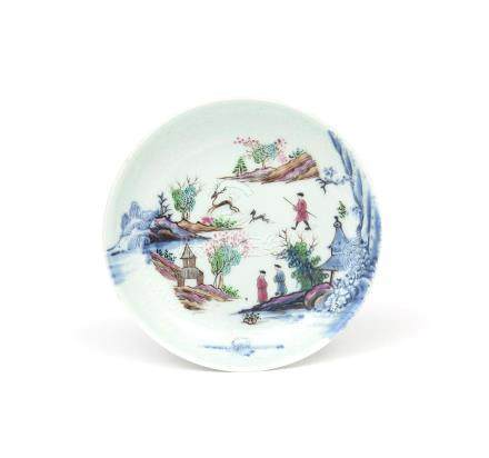 A European-decorated Chinese porcelain saucer 18th century, originally decorated in underglaze