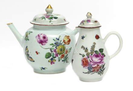 A European-decorated Chinese teapot and cover Qianlong 1736-95, the globular body painted in the