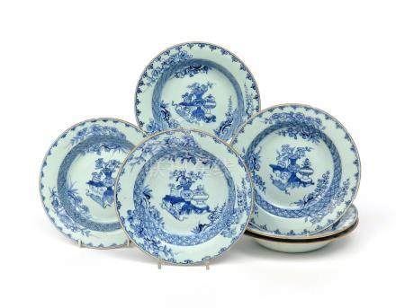 Six Chinese porcelain soup plates Qianlong 1736-95, painted in underglaze blue with vases and tied