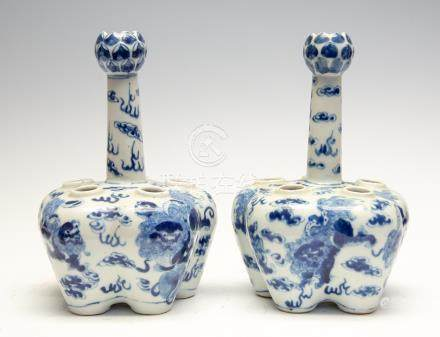 A pair of Chinese blue and white tulip vases, 19th Century,