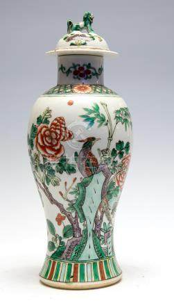 A Chinese famille verte baluster vase and cover, 19th Century, decorated with birds amongst plants,
