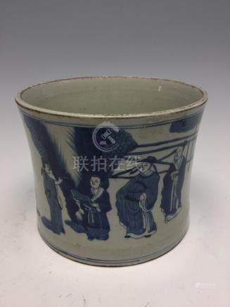 A large Chinese blue and white brush pot, Kangxi mark but 19th Century,