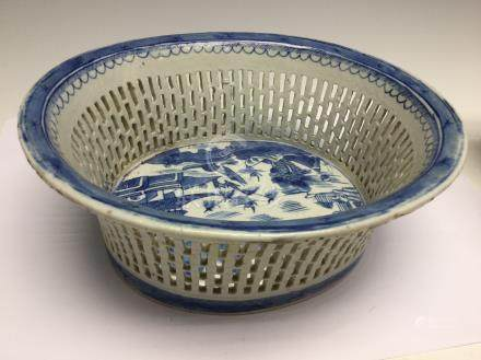 A Chinese blue and white basket, mid 19th Century,