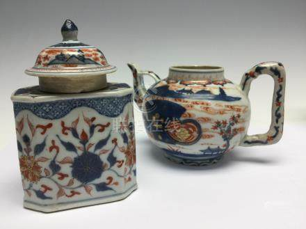A Chinese imari teapot of unusual form, together with an imari tea caddy, both Qing Dynasty,