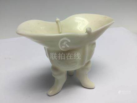A Chinse blanc de chine jue, 19th Century, of characteristic archaic form,