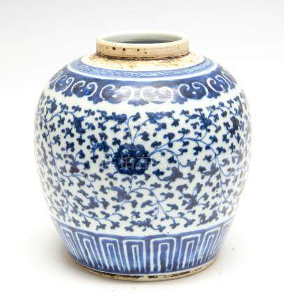 A Chinese blue and white ginger jar, 18th Century, scrolling leaf design,