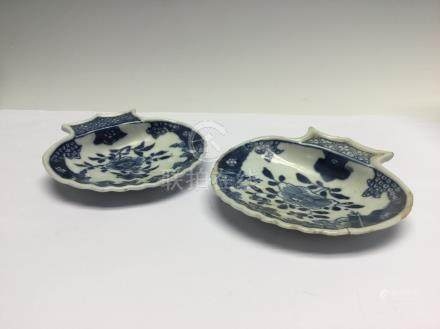 A pair of Chinese blue and white shell shaped dishes, 18th Century,