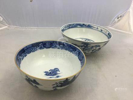 A Chinese blue and white bowl, 18th Century, painted with a vivid blue landscape scene,