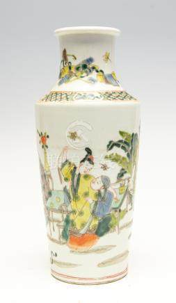 A Chinese famille verte vase, 19th Century, decorated with a figure scene,