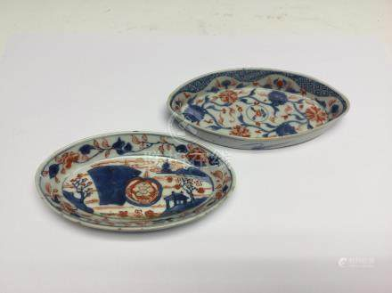 Two Chinese imari spoon trays, Kangxi period, of oval form,